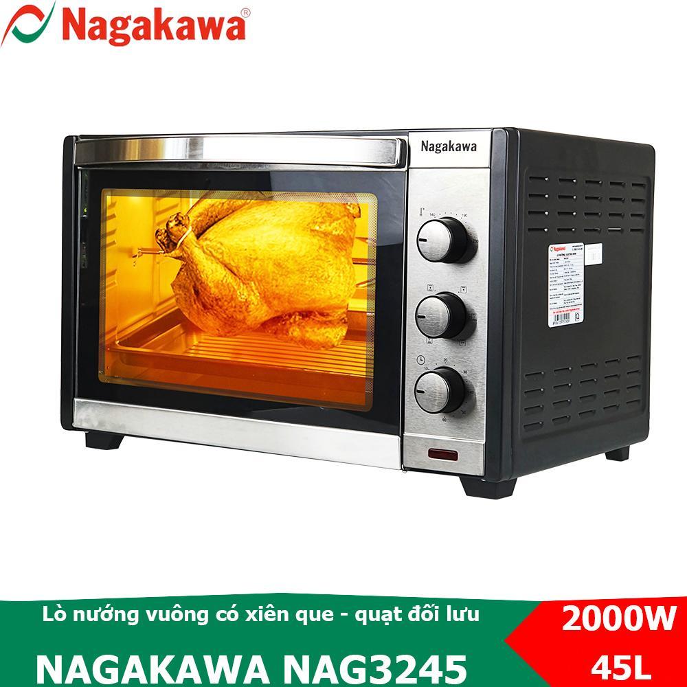 Lò nướng điện vuông 45L, công suất 2000W Nagakawa NAG3245 có xiên que nướng gà quay