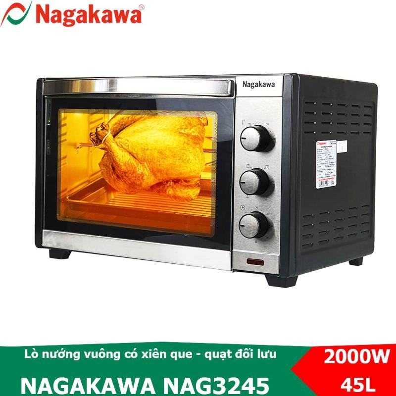 Bảng giá Lò nướng điện vuông 45L, công suất 2000W Nagakawa NAG3245 có xiên que nướng gà quay Điện máy Pico