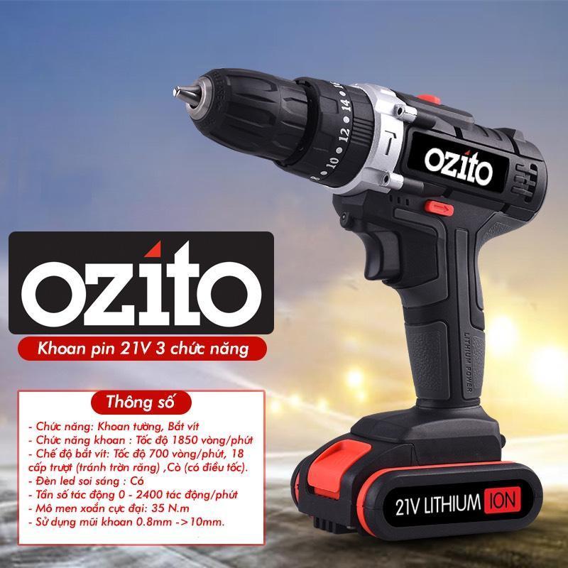 Máy khoan pin 21V Ozito 3 chức năng có búa (1 Pin)