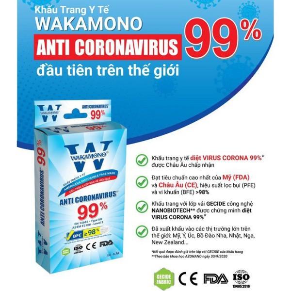 (Hộp 10 Cái) Khẩu Trang Y Tế WAKAMONO Kháng Virus 99% - Hàng Chính Hãng