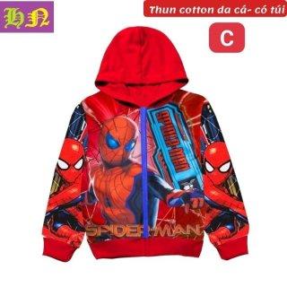 Áo khoác bé trai hình siêu nhân nhện từ 11-43kg -Áo lạnh thun da cá thấm hút mồ hôi - Hương Nhiên thumbnail