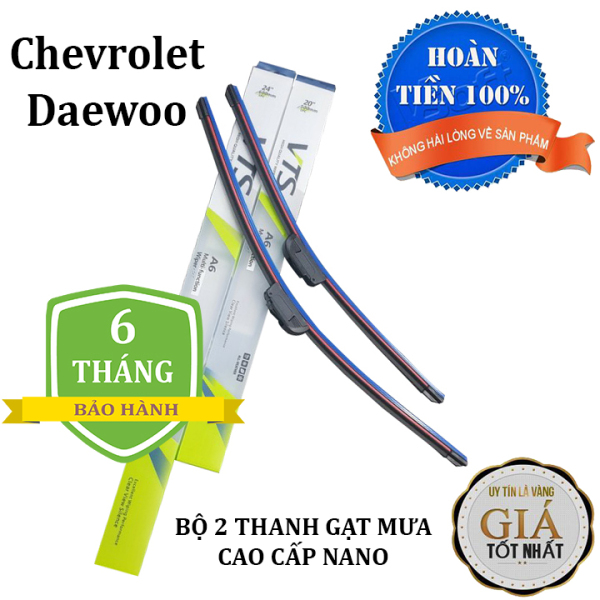 Bộ 2 thanh gạt nước mưa ô tô Nano xương mềm cao cấp dành cho tất cả các dòng xe hãng xe Chevrolet, Daewoo: Cruze-Aveo-Captiva-Trax-Spark-Lacetti-Gentra-Lanos-Matiz-Orlando-Colorado,...