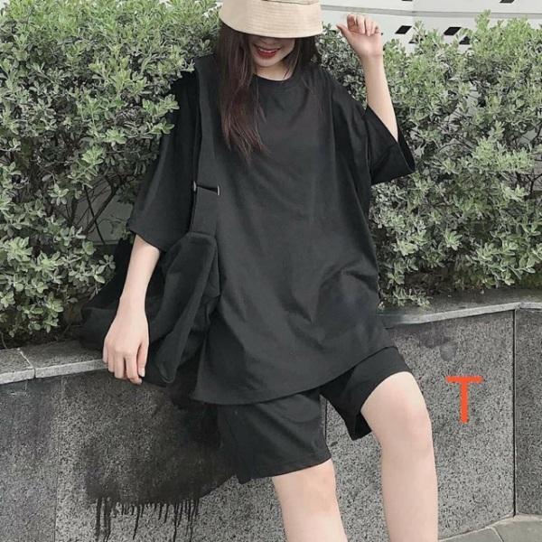 Sét Bộ Đồ Nữ Mặc Đi Chơi Dạo Phố, Mặc Ở Nhà Chất Liệu Cotton Mềm Mịn Mát, Phong Cách Teen Hàn Quốc-KIỀU ANH FASHION-Sét bộ đen trơn TT12