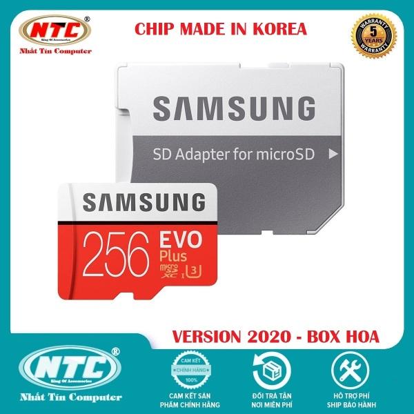 Thẻ nhớ MicroSDXC Samsung Evo Plus 256GB U3 4K R100MB/s W90MB/s - box Hoa New 2020 (Đỏ) + Kèm Adapter - Made in Korea - Nhất Tín Computer