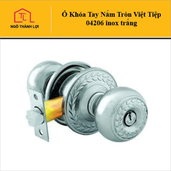 Ổ Khóa tay nắm tròn Việt Tiệp 04206 inox trắng cò dài/cò ngắn dành cho cửa nhôm có bán tại Ngô Thành Lợi
