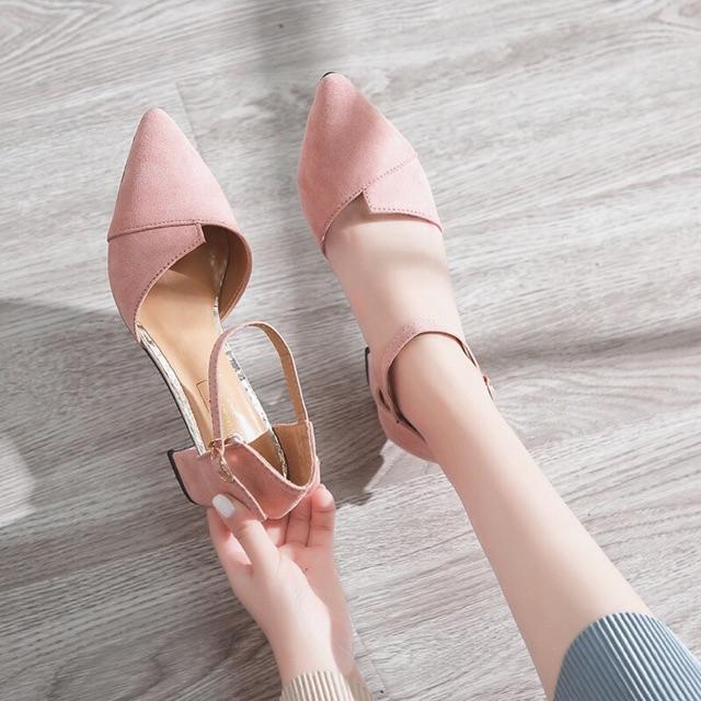 Giày Cao Gót Vuông Bảng Xếp Bít Mũi Sành điệu Giá Rẻ Bất Ngờ