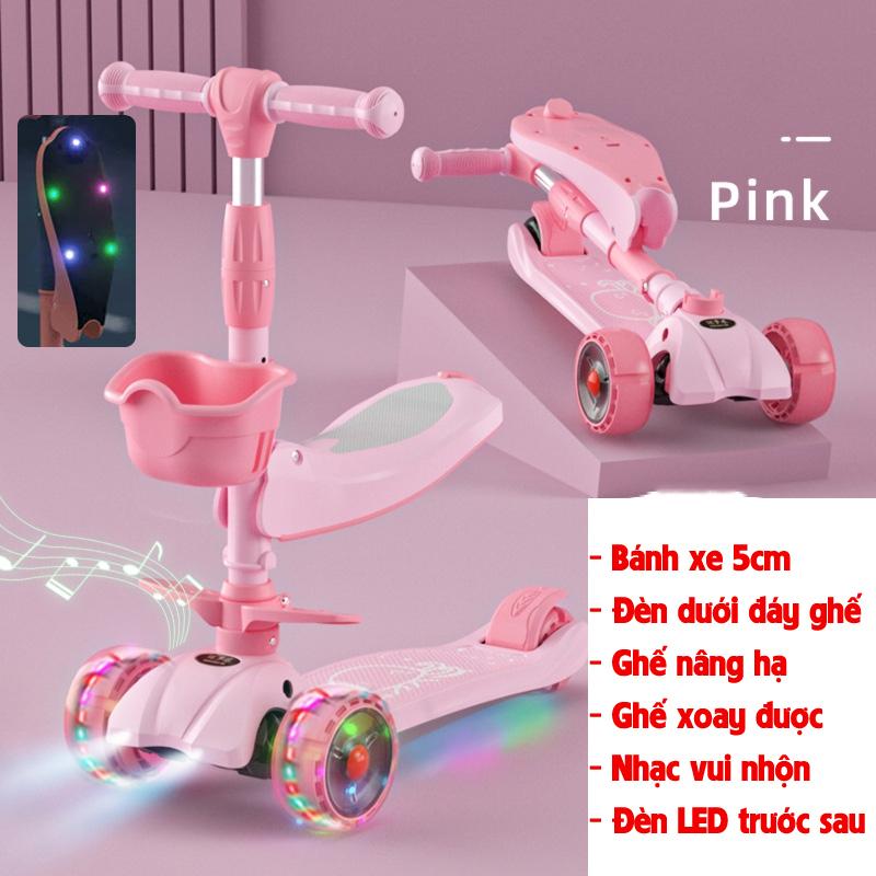 Mua {Tay lái và ghế nâng hạ độ cao} Xe trượt scooter cao cấp cho bé 3 bánh tự cân bằng, ghế có đèn gấp gọn, có nhạc và đèn LED chiếu phía trước (hồng)