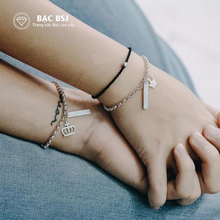Vòng tay đôi tình yêu chất liệu bạc ta cao cấp. Miễn phí khắc tên theo yêu cầu. Bạc BSJ - LTD01