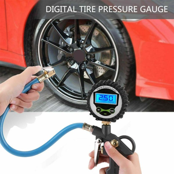 Professional Digital LCD Tyre Tire Air Pump Pressure Gauge Tester 220PSI Car Van