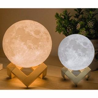 Đèn Ngủ Mặt Trăng 3D size 15CM(cảm biến) nhiều màu đèn, tặng kèm đế gỗ,điều khiển -DC3295 thumbnail