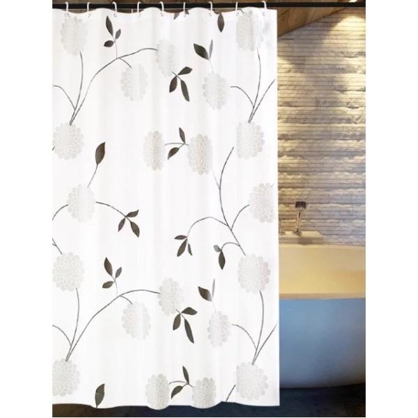 Rèm phòng tắm chống nước 1.8m có kèm móc treo hoa cúc đen