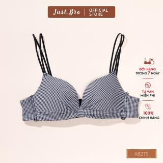 Áo ngực không gọng JustBra chất liệu cotton kẻ vintage cùng dây vai mảnh sexy AB279 thumbnail