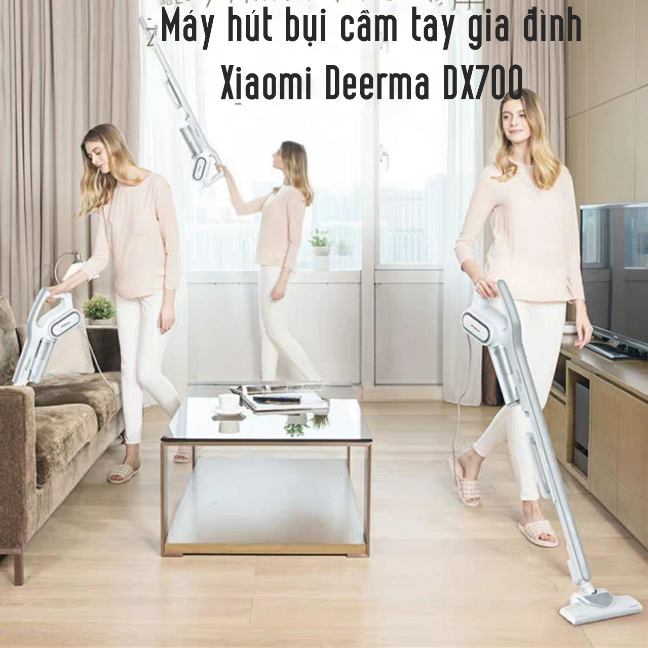 Máy Hút Bụi Cầm Tay Gia Đình Deerma Vacuum Cleaner DX700, Công Suất 600W, Lọc Bụi Diệt Khuẩn HEPA