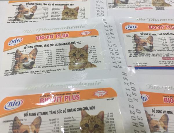 Bổ sung vitamin, tăng sức đề kháng cho chó, mèo Bio-Vit Plus gói 5g