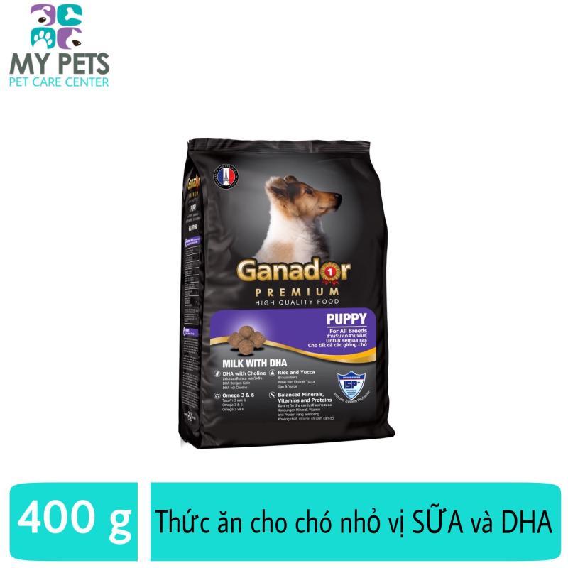Thức ăn cho chó nhỏ có sữa và DHA giúp chó con thông minh - Thức ăn cho chó Ganador Puppy 400g