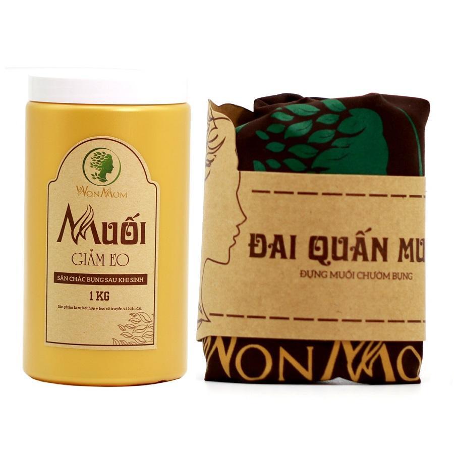 Combo Đai quấn muối + muối thảo dược giảm eo sau sinh Wonmom nhập khẩu