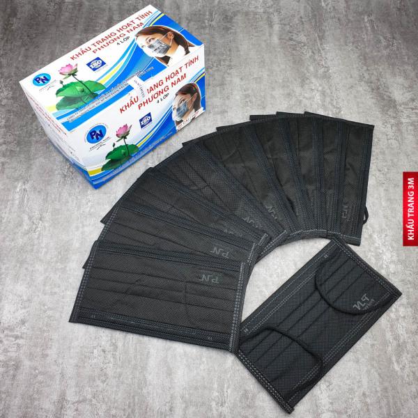 Khẩu trang y tế 4 lớp than hoạt tính Khang Việt (hộp 50c) - Hàng công ty - Chuẩn xuất khẩu HB23xam
