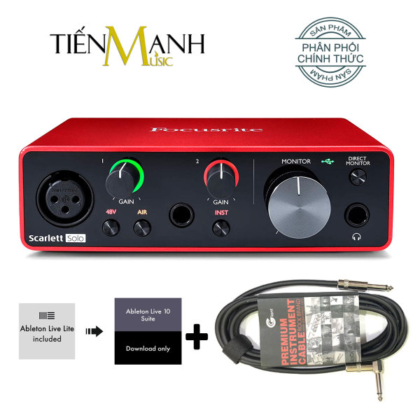 [Tặng Cable 3m] Focusrite Scarlett Solo Gen 3 Sound Card Âm Thanh - Focus USB Audio Interface SoundCard (3rd - Gen3)