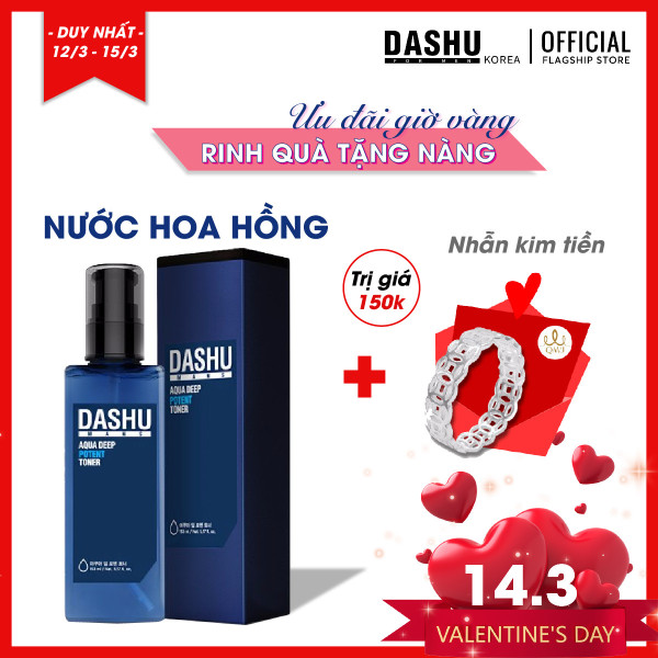 Nước hoa hồng Hàn Quốc Dashu Aqua Deep Potent Toner 153ml, hướng dẫn cách sử dụng, cách dùng nuoc hoa hong cho da mụn có tác dụng giúp se khít lỗ chân lông, tăng độ ẩm cho da, thành phần nước biển sâu, tảo bẹ, hương Gỗ tự nhiên. cao cấp