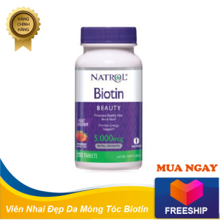 Viên nhai đẹp da tóc và móng Natrol Biotin Beauty 5000mcg 250 viên của Mỹ thumbnail
