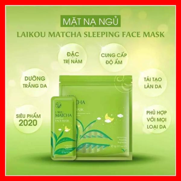 1 Bịch gồm 15 gói mặt nạ ngủ Matcha Mud Mask Laikou dưỡng da mụn cấp ẩm thải độc trà xanh