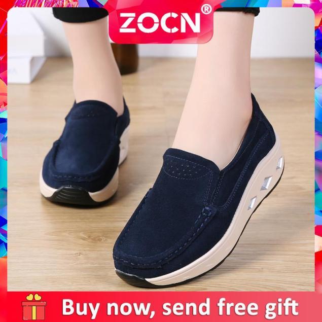 Giày Đế Xuồng ZOCN Cho Nữ, Giày Da Lộn Đế Dày Thường Ngày Cỡ Lớn 35-42 giá rẻ
