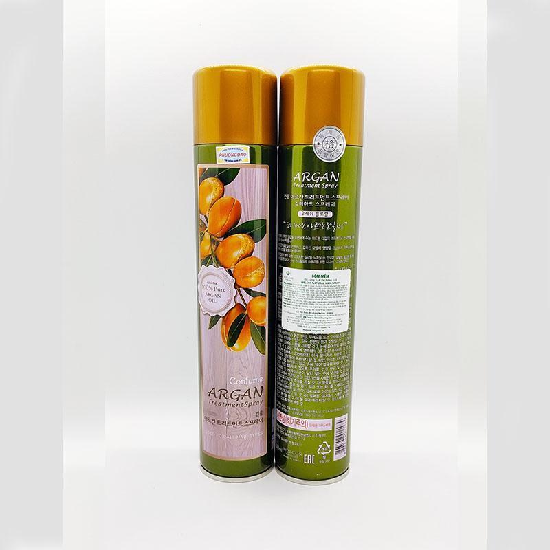 Gôm xịt tóc mềm Confume Argan Treatment Spray dưỡng màu tóc nhuộm Hàn Quốc 300g nhập khẩu