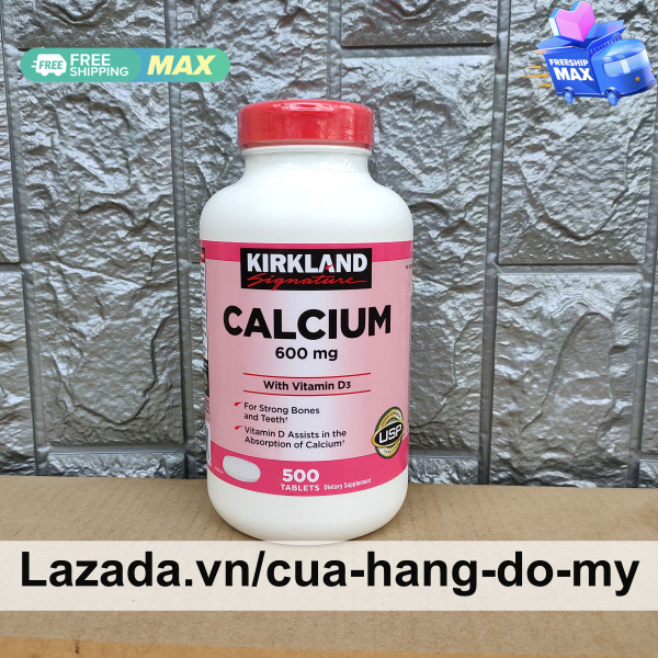Viên Uống Canxi Kirkland chắc xương Calcium Kirkland 600mg + D3 500 Viên - Mẫu mới 2021 chai thấp của Mỹ