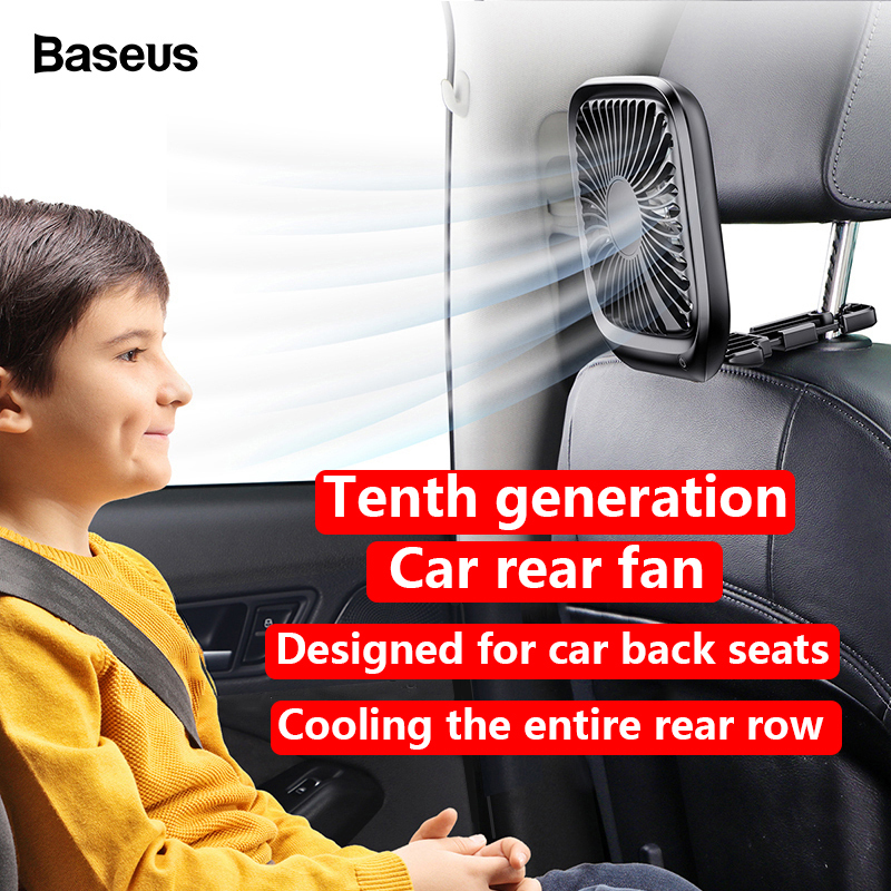 Baseus Bản gốc chất lượng cao  USB Quạt có thể gập lại có thể gập lại dành cho xe hơi Điều hòa không khí phía sau 5V Khả năng cao siêu yên tĩnh Máy làm mát ba cấp tốc độ gió Quạt làm mát (Đen & Trắng)