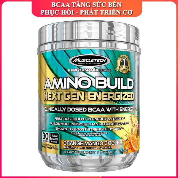 BCAA & Pre-Workout Amino Build Next gen của Muscle Tech hộp 30 lần dùng hỗ trợ phục hồi cơ chống dị hóa cơ tăng sức bền sức mạnh vượt trội đốt mỡ giảm cân giảm mỡ bụng mạnh mẽ cho người tập thể thao - Phân phối chính thức
