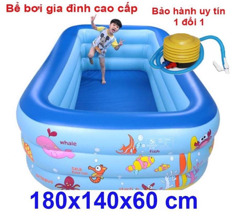 Be boi mini - Ho boi gia dinh Bể bơi phao 3 tầng  cỡ lớn cho bé và gia đình : 180 x 140 x 60 cm. loại dày dặn có tặng kèm( bơm hơi + miếng vá )
