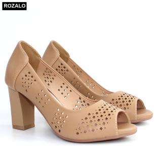 Giày nữ cao gót 7P đục lỗ hình quả trám hở mũi Rozalo R6100 thumbnail