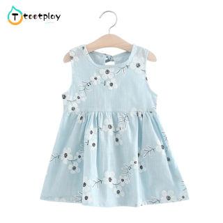 Tootplay Đầm Xòe Hoa Đáng Yêu Cho Bé Gái Đầm Công Chúa Vải Cotton Không Tay In Hoa Thắt Nơ