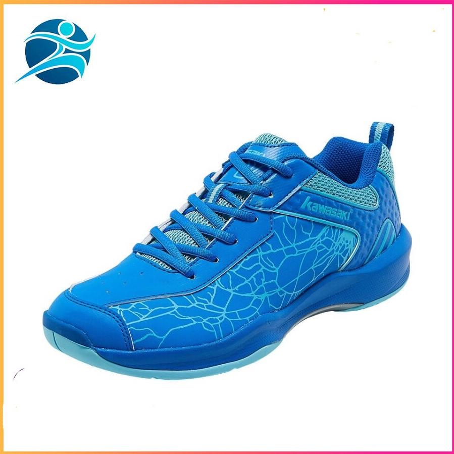 Giày cầu lông Kawasaki K081 mẫu mới, chống lật cổ chân, dành cho nam và nữ, màu xanh, đủ size - Giày cầu lông chuyên dụng - Giày đánh bóng chuyền  Bsport