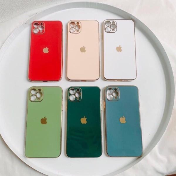 Ốp giả iphone 12 - Ốp lưng Logo Táo viền vuông,cạnh vuông viền si 6splus/7plus/8plus/xs/xsmax/11/11promax