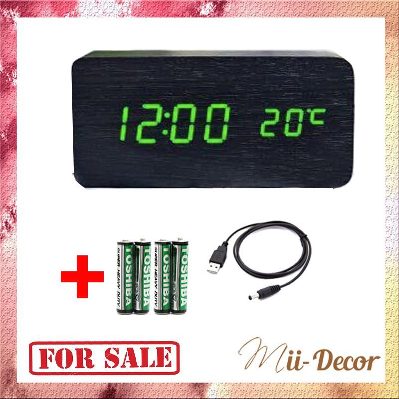 Nơi bán [TẶNG 4 PIN ] Đồng Hồ Để Bàn Trang Trí bằng gỗ - LED - Đủ 14 Mẫu - (Video thật) Kiêm Báo Thức & Nhiệt Kế DH003