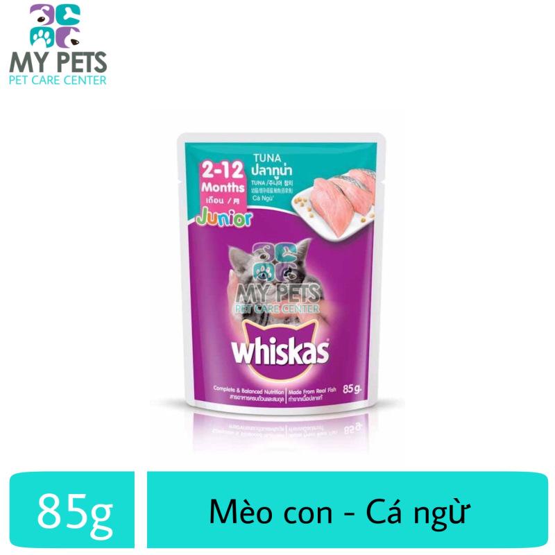 Thức ăn ướt pate / xốt Whiskas hương vị Cá Ngừ dành cho mèo con - Gói 85g