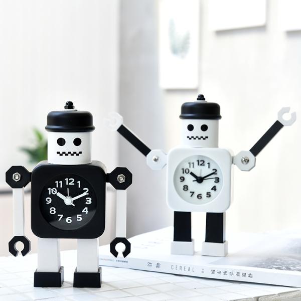 Đồng hồ báo thức trẻ em dễ thương sáng tạo 2020 tính cách mới câm học sinh cậu bé robot phòng ngủ máy tính để bàn báo thức bán chạy