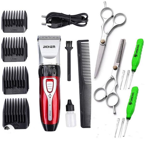 Tông đơ cắt tóc loại tốt không dây JICHEN 0817 - Tặng kèm bộ kéo cắt tỉa tóc và 2 ráy tai có đèn soi giá rẻ