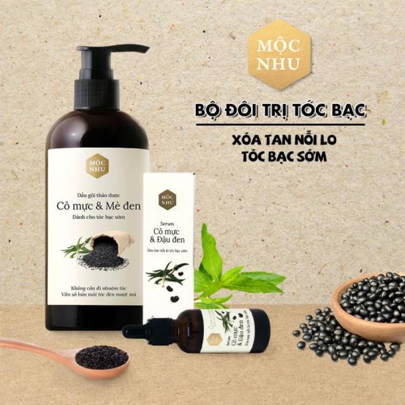 ✅MỘC NHU✅ Bộ đôi dầu gội & serum tóc bạc cỏ mực - Giải pháp cho người tóc bạc sớm