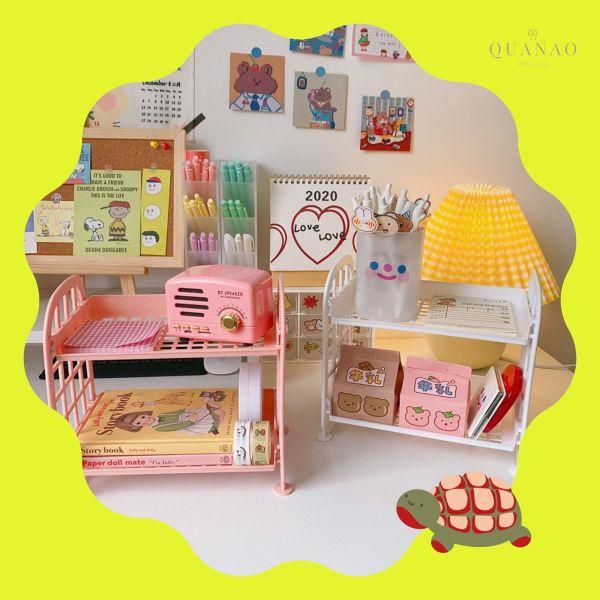 [Góc Trang Trí Phòng] KỆ NHỰA 2 tầng mini trang trí góc phòng học