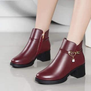 Giày Của Mẹ Giày Cotton Giày Nữ Mùa Đông Giày Nữ Ấm Áp Đế Mềm Chống Trượt Gót Dày Đế Bằng Bốt Ngắn