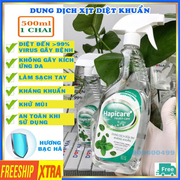 Nước sát khuẩn [HÀNG CHÍNH HÃNG] nước rửa tay kháng khuẩn nhanh khô Hapicare 500ml hương bạc hà