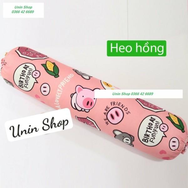 (Được yêu thích) Vỏ gối ôm poly cotton mẫu Heo Hồng, áo gối dài nhiều mẫu đẹp, bao gối ôm người lớn 30x100cm có dây dù rút kéo