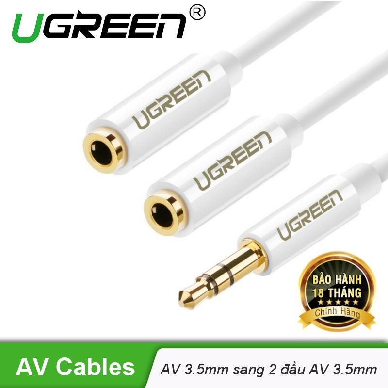 Bảng giá Dây cáp Audio 3.5mm đực chia 2 cổng 3.5mm cái (2 tai nghe) dài 20cm UGREEN AV123- Hãng phân phối chính thức Phong Vũ