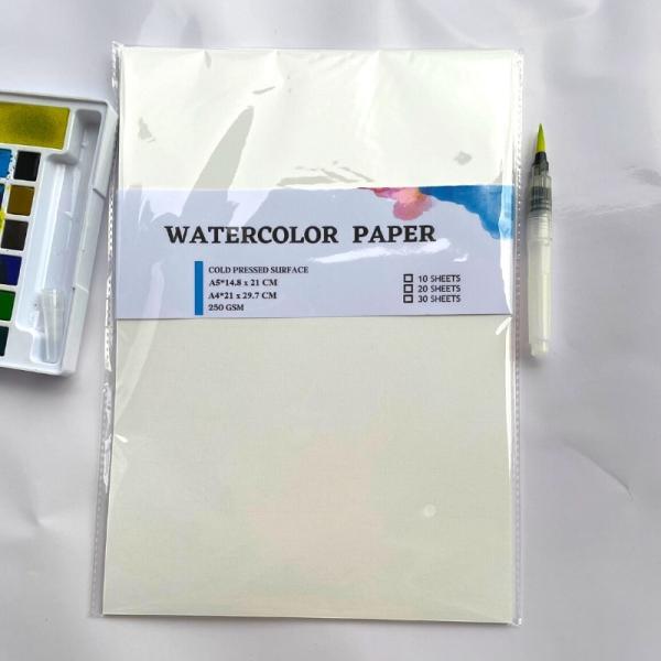 Giấy Vẽ Màu Nước Truyền Thống loại Dày 250 gsm Vân Ngang Xấp 10 tờ - A4 (21 x 29,7cm)
