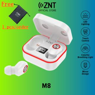 [MỚI] Tai nghe không dây ZNT M8, Tai nghe Bluetooth 5.1 TWS, Tai nghe nhét trong có thiết kế gương có mic, Điều khiển cảm ứng, Chống nước IPX5, Tai nghe có màn hình LED cho Samsung Xiaomi Huawei Oppo Vivo, v.v. thumbnail