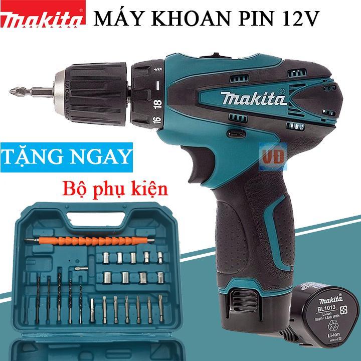 [ QUÀ TẶNG ] Máy Khoan Pin Makita 12V - Tặng bộ mui khoan 25 chi tiết