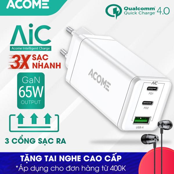 Giá [Bảo Hành 12 Tháng] ACOME ACG03 Củ Sạc 3 Cổng Sạc nhanh Q.C 4.0 chuẩn PD 65W Công nghệ mới GaN Fast - Hàng Chính Hãng