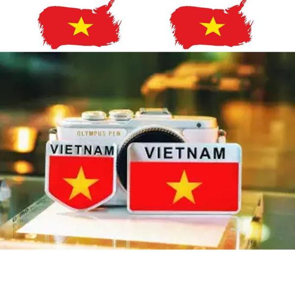 Bộ 2 Tem Nhôm Dán Ô tô Xe Máy Cờ Việt Nam Vô Địch